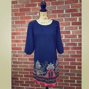 BeBop 3/4 Sleeve Paisley Print Multicolor Dress